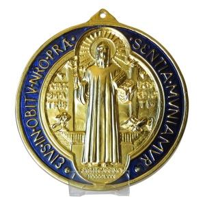MEDAILLE.SAINT.BENOIT.EN.PIED.religieuse-medaille-saint-benoit-emaillee-grand-modele-med3454